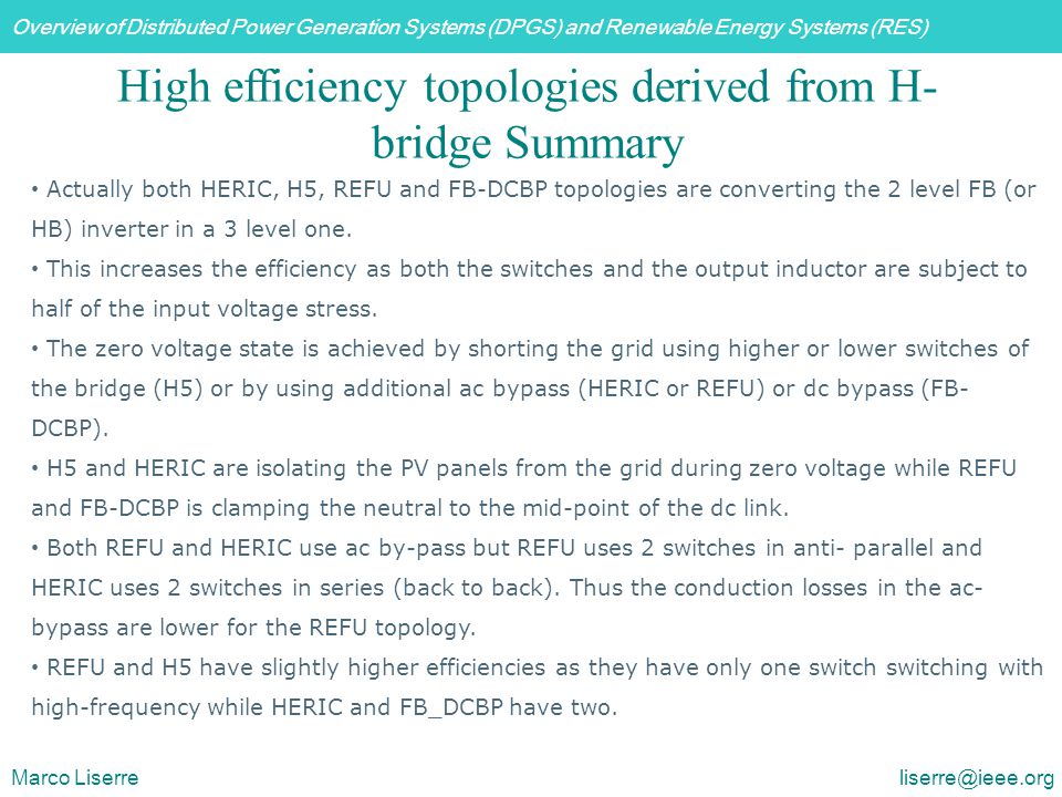 High efficiency topologies derived from H-bridge Summary