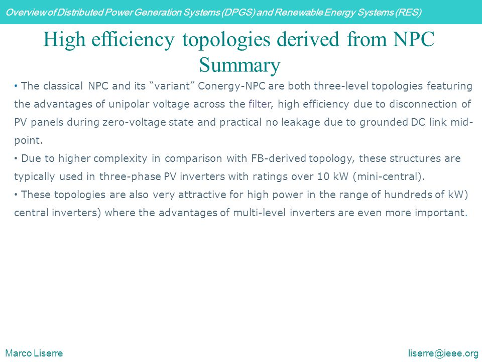 High efficiency topologies derived from NPC