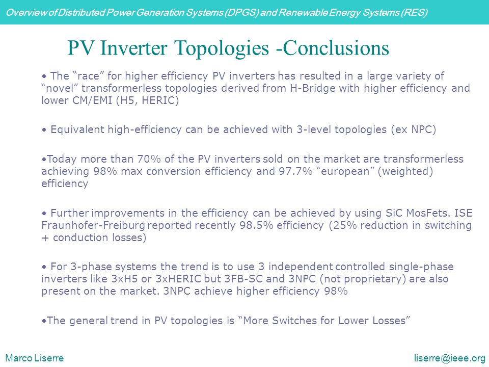 PV Inverter Topologies -Conclusions