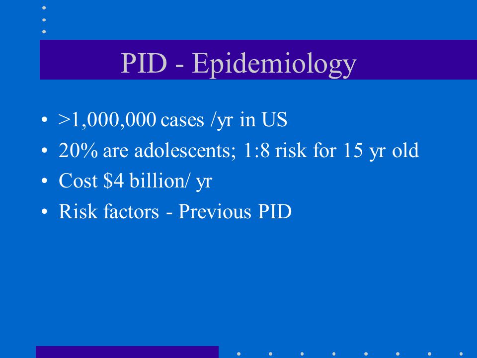 PID - Epidemiology >1,000,000 cases /yr in US
