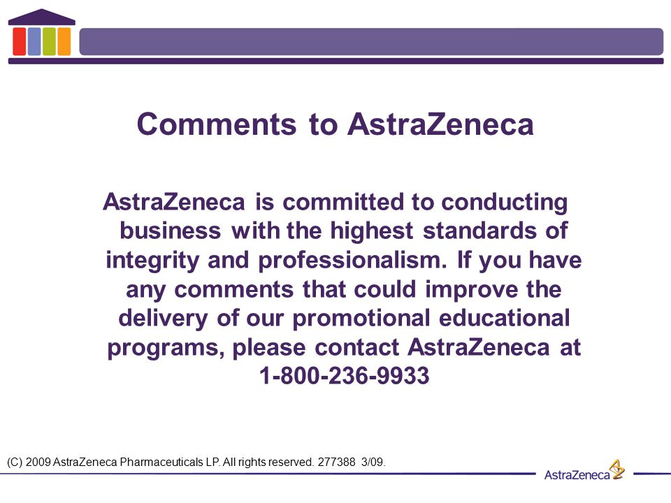 Comments to AstraZeneca