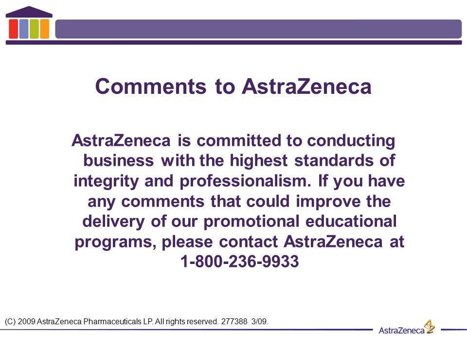 Comments to AstraZeneca