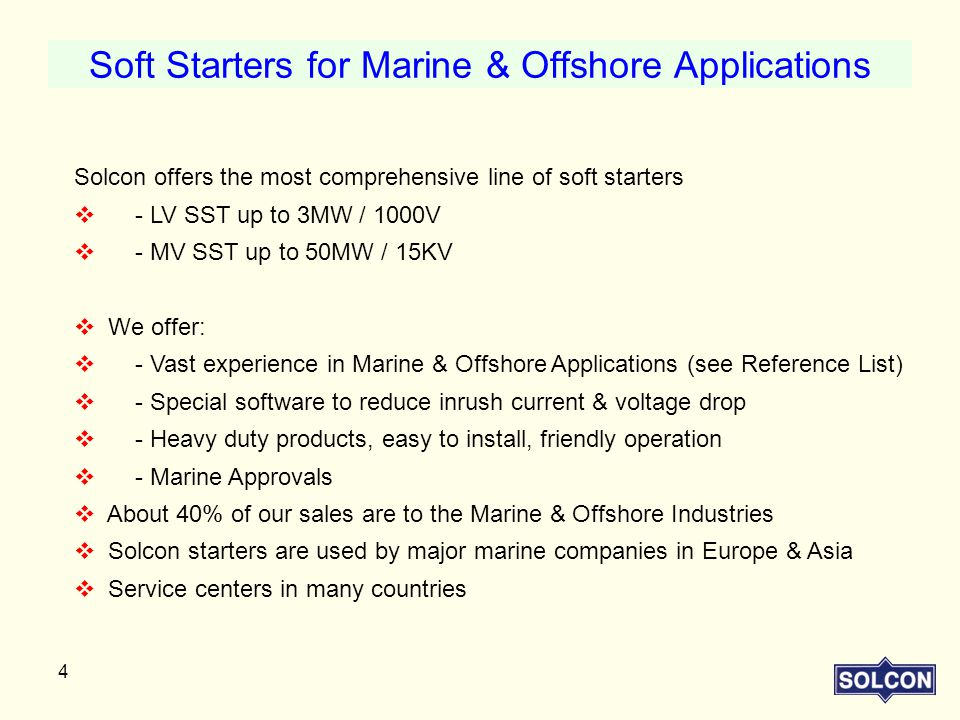 Soft Starters for Marine & Offshore Applications