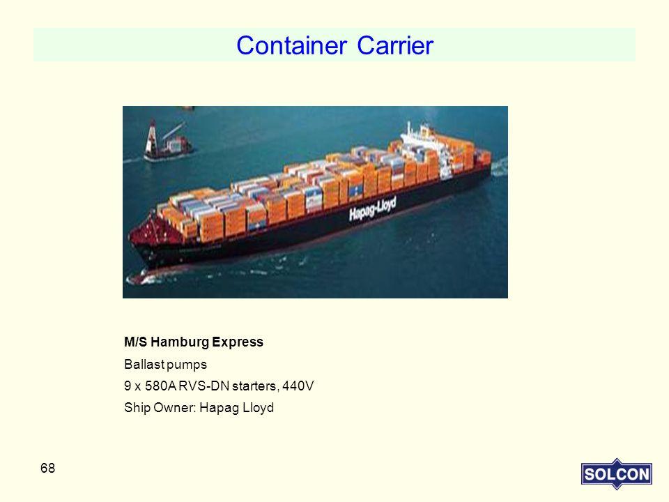 Container Carrier M/S Hamburg Express Ballast pumps