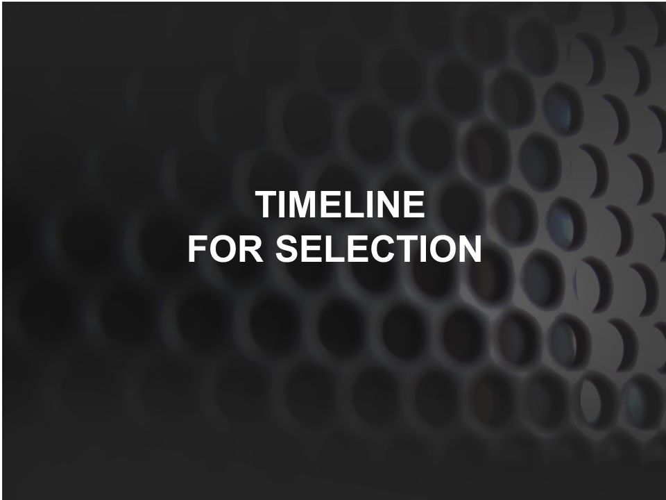 TIMELINE FOR SELECTION