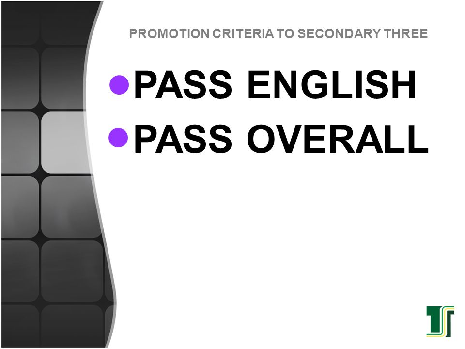 PROMOTION CRITERIA TO SECONDARY THREE