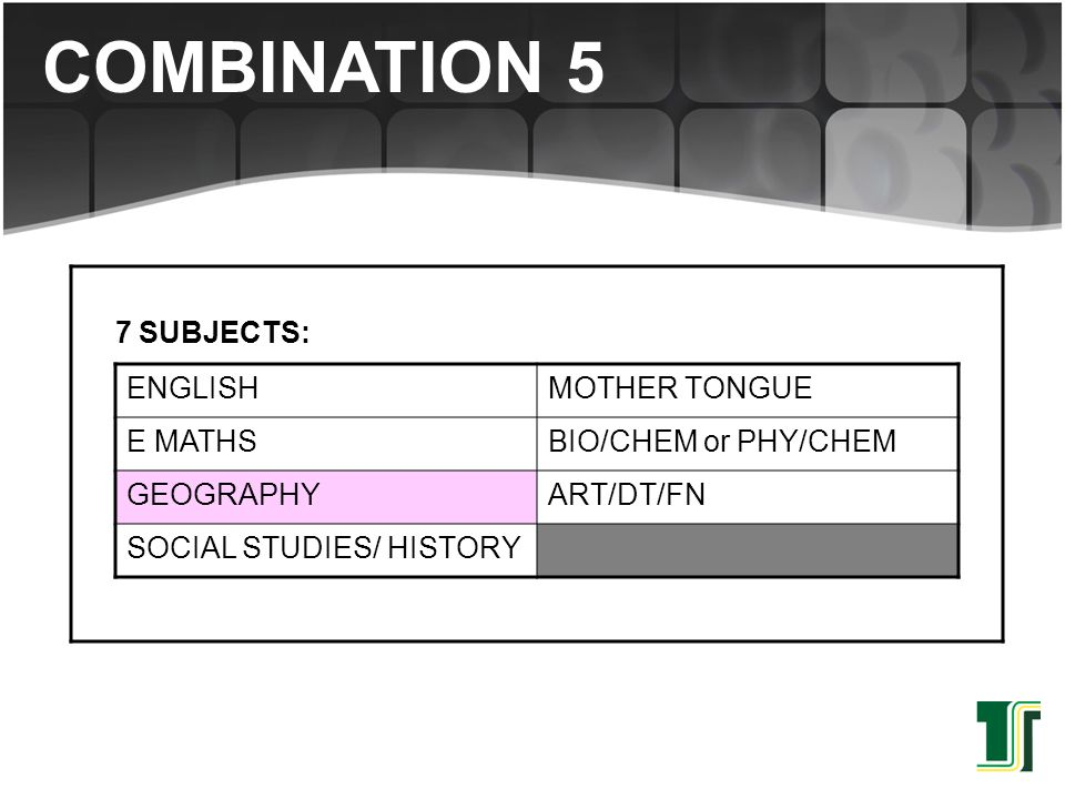 COMBINATION 5 7 SUBJECTS: ENGLISH MOTHER TONGUE E MATHS