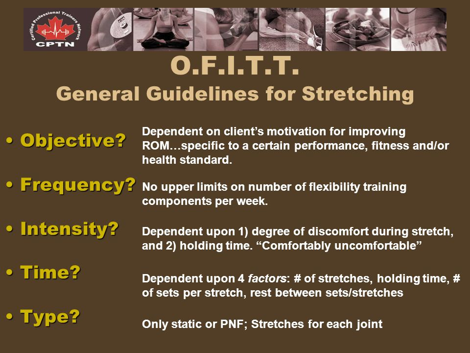 O.F.I.T.T. General Guidelines for Stretching