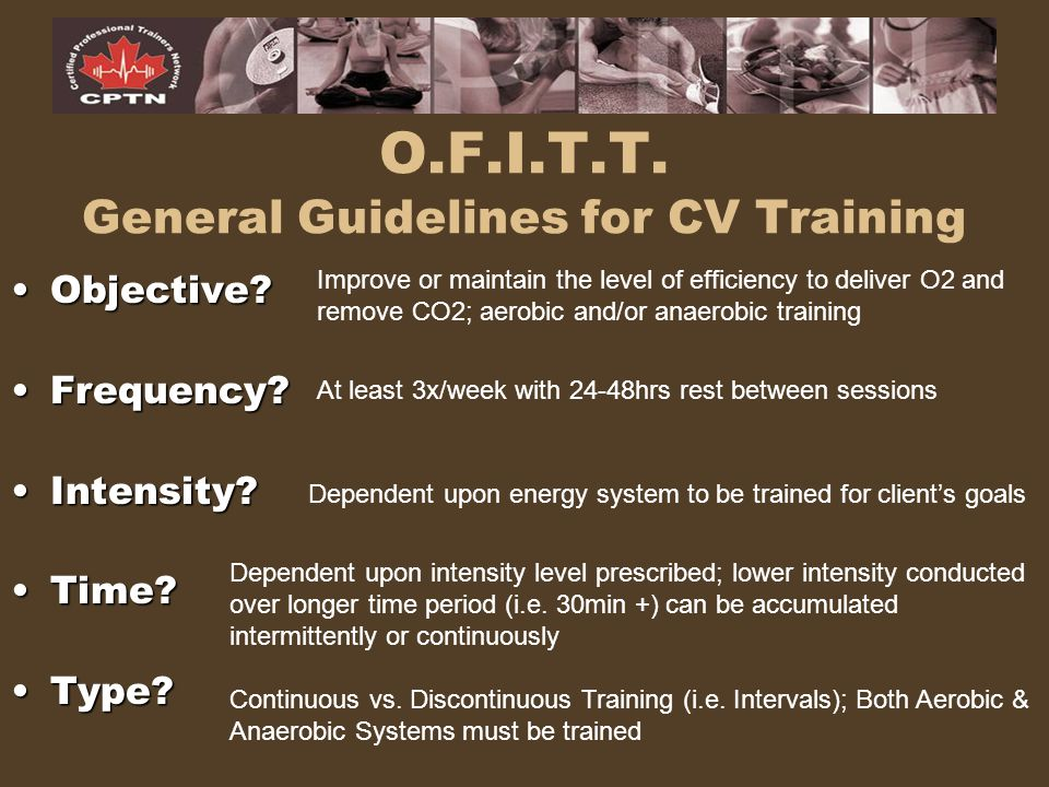 O.F.I.T.T. General Guidelines for CV Training