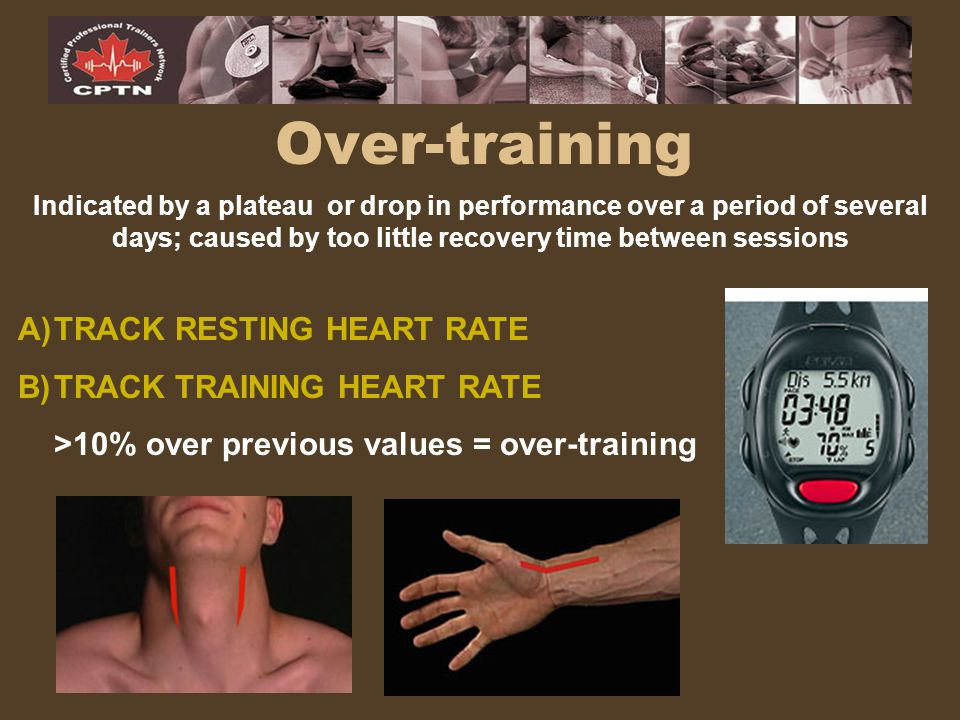 Over-training TRACK RESTING HEART RATE TRACK TRAINING HEART RATE