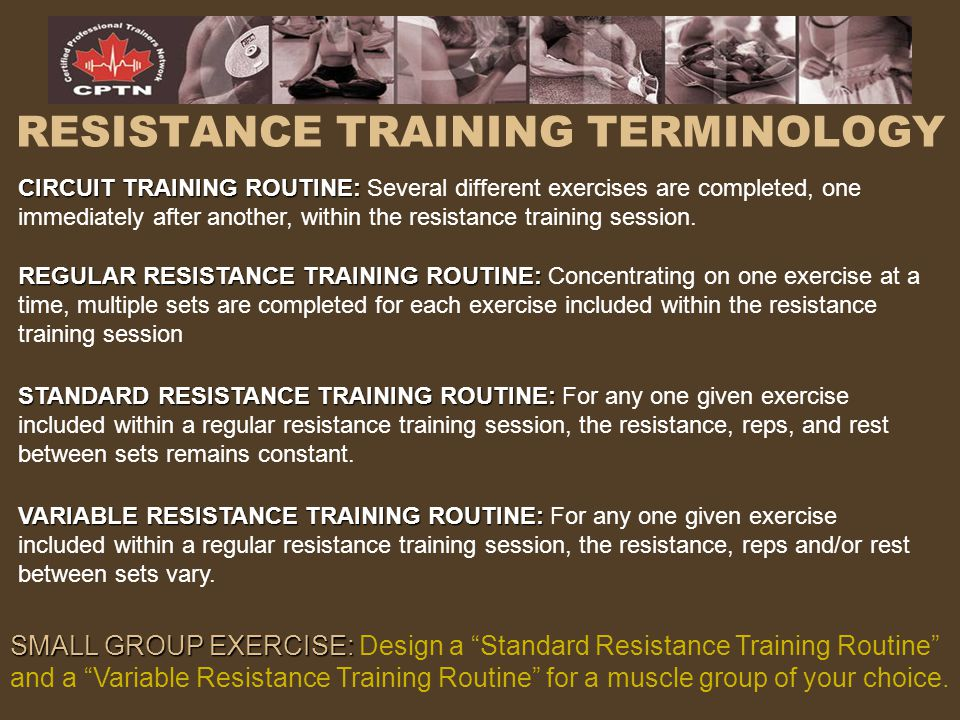 RESISTANCE TRAINING TERMINOLOGY
