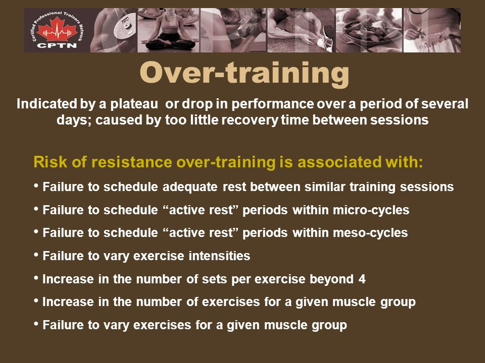 Over-training Risk of resistance over-training is associated with: