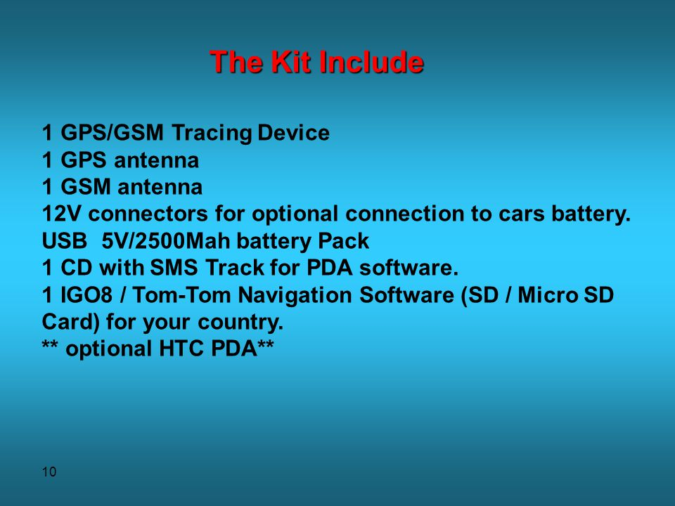 The Kit Include 1 GPS/GSM Tracing Device 1 GPS antenna 1 GSM antenna