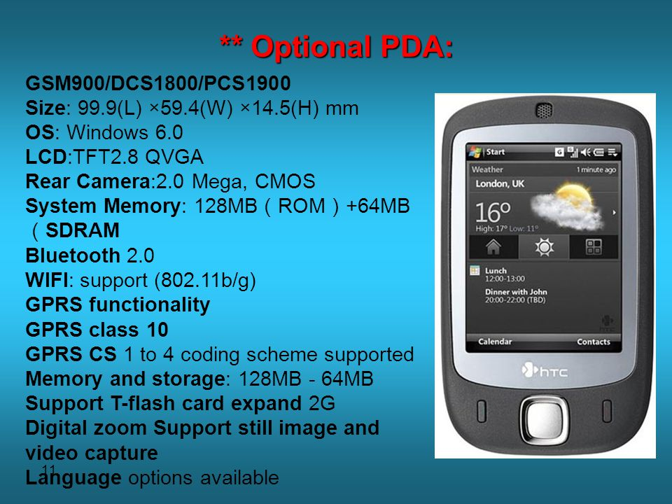** Optional PDA: GSM900/DCS1800/PCS1900
