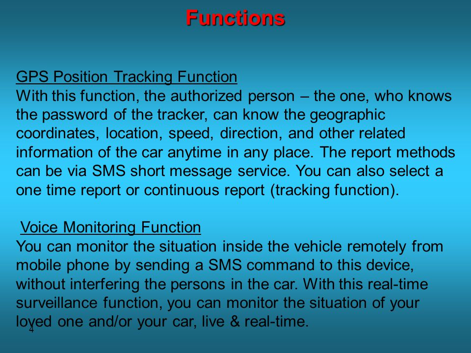 Functions GPS Position Tracking Function