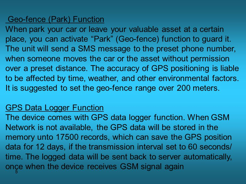 Geo-fence (Park) Function