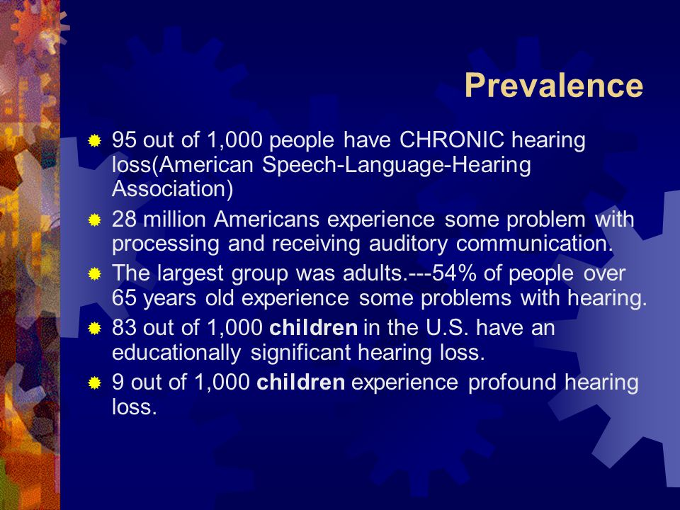 Prevalence 95 out of 1,000 people have CHRONIC hearing loss(American Speech-Language-Hearing Association)