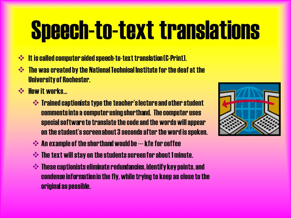 Speech-to-text translations