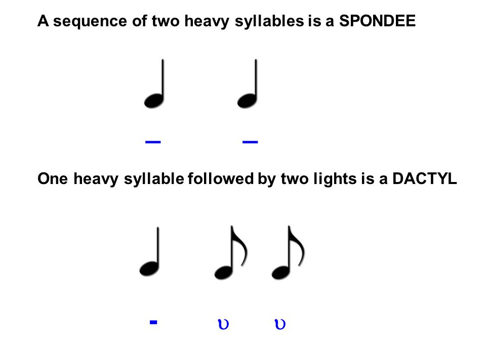 _ _ - u u A sequence of two heavy syllables is a SPONDEE