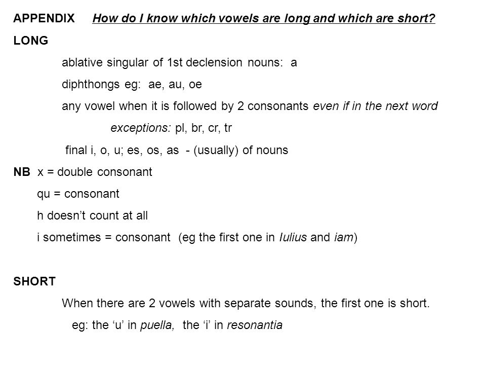 APPENDIX How do I know which vowels are long and which are short