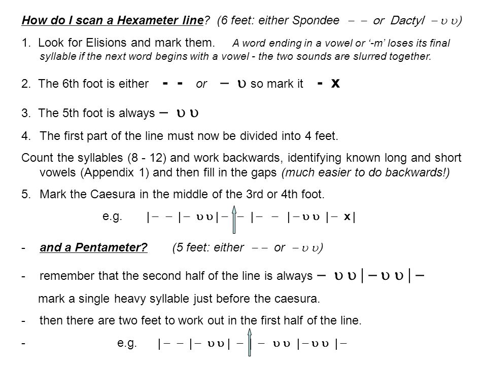 How do I scan a Hexameter line