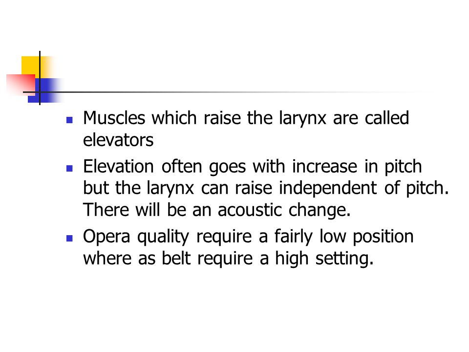 Muscles which raise the larynx are called elevators