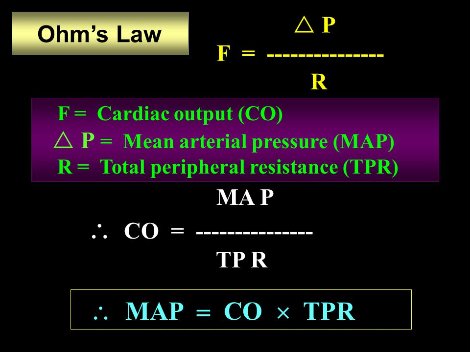  MAP  CO  TPR  P F = --------------- R Ohm's Law