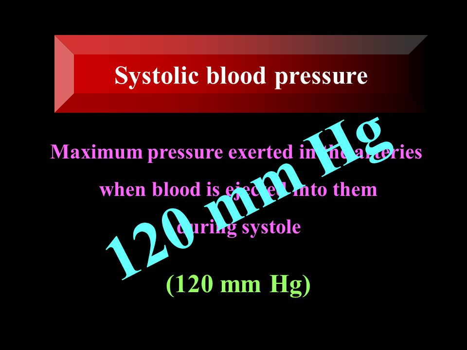 120 mm Hg Systolic blood pressure (120 mm Hg)