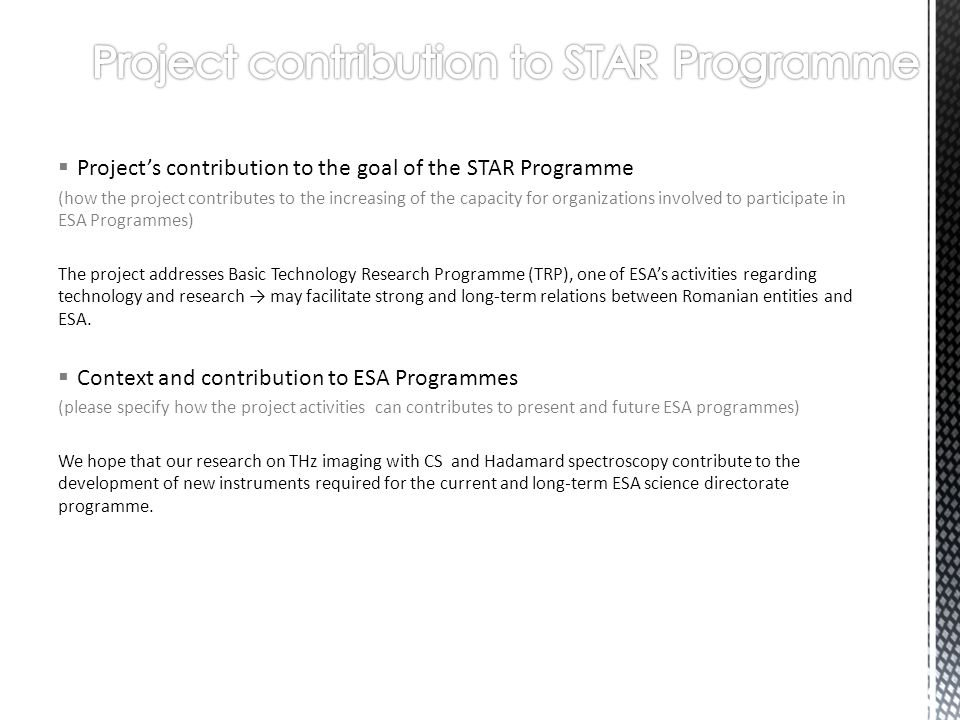 Project contribution to STAR Programme