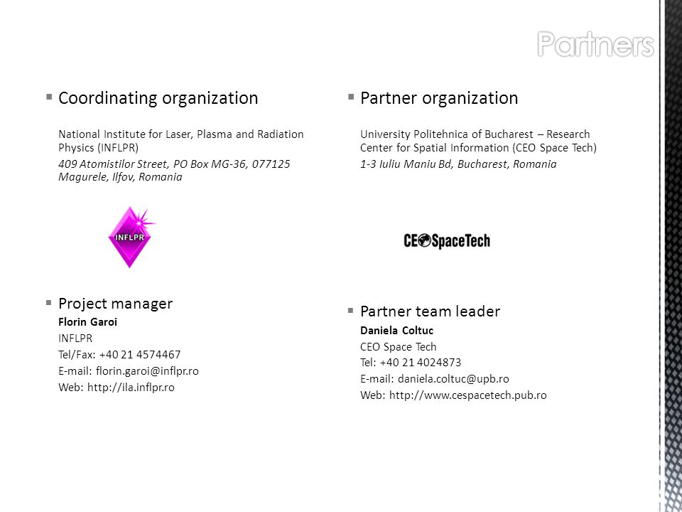Partners Coordinating organization Partner organization