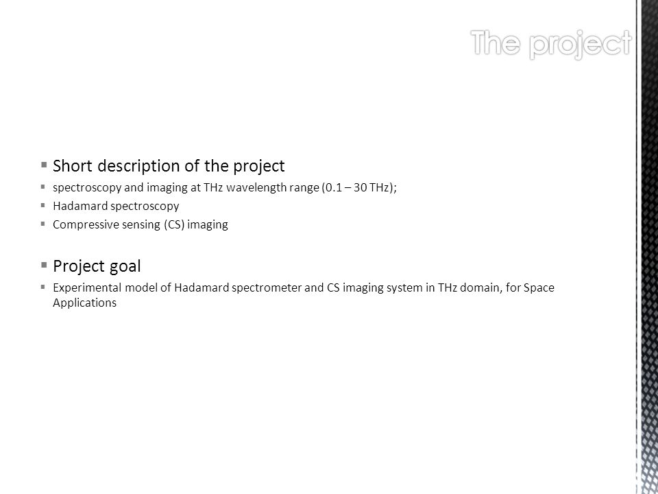 The project Short description of the project Project goal