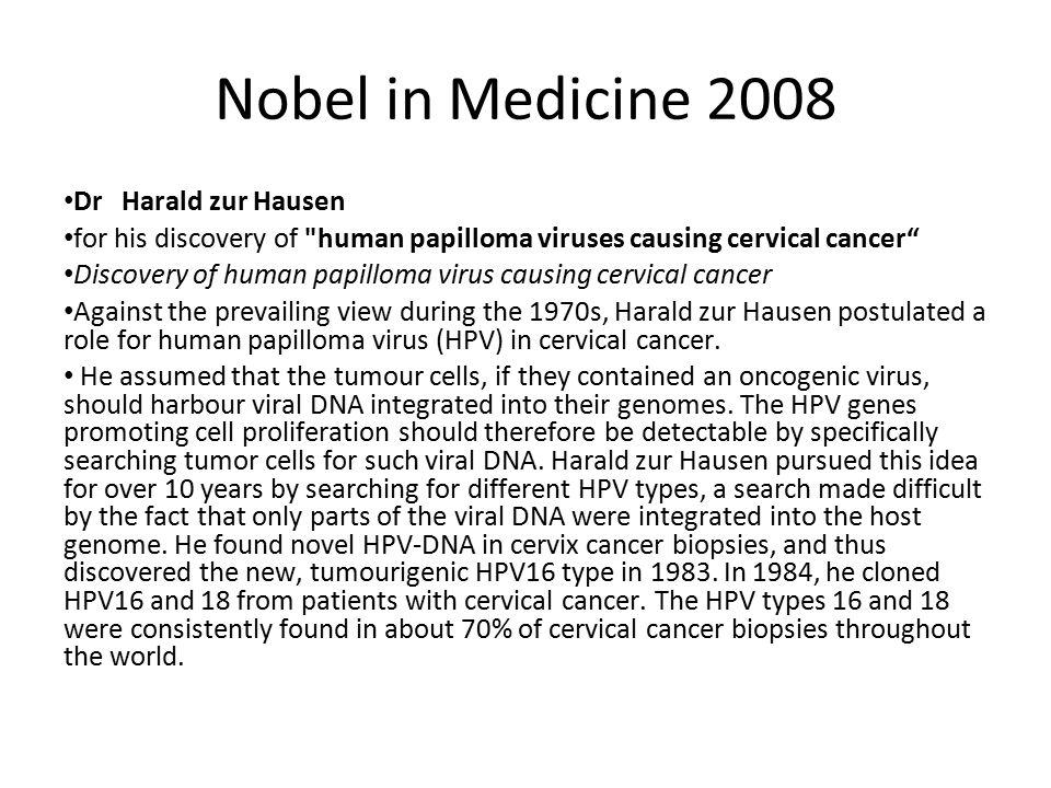 Nobel in Medicine 2008 Dr Harald zur Hausen