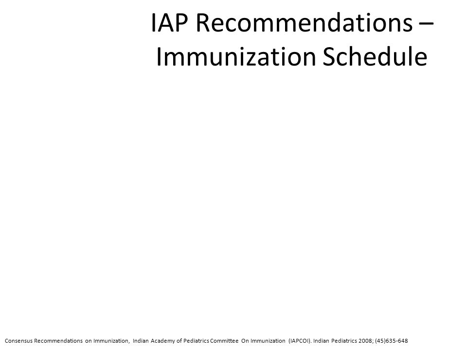 IAP Recommendations – Immunization Schedule