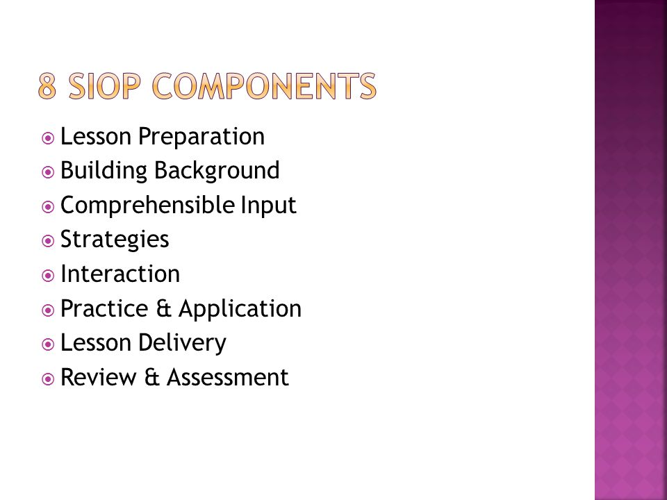 8 siop components Lesson Preparation Building Background