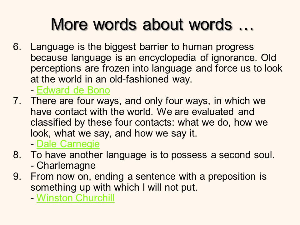 More words about words …