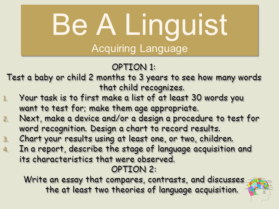 Be A Linguist Acquiring Language