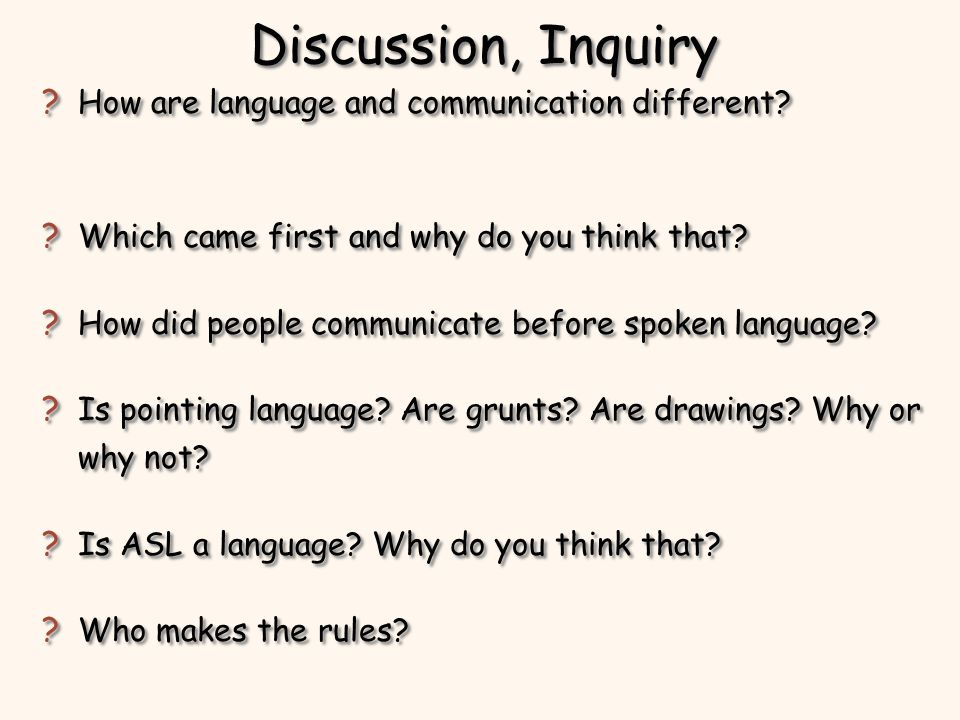 Discussion, Inquiry How are language and communication different