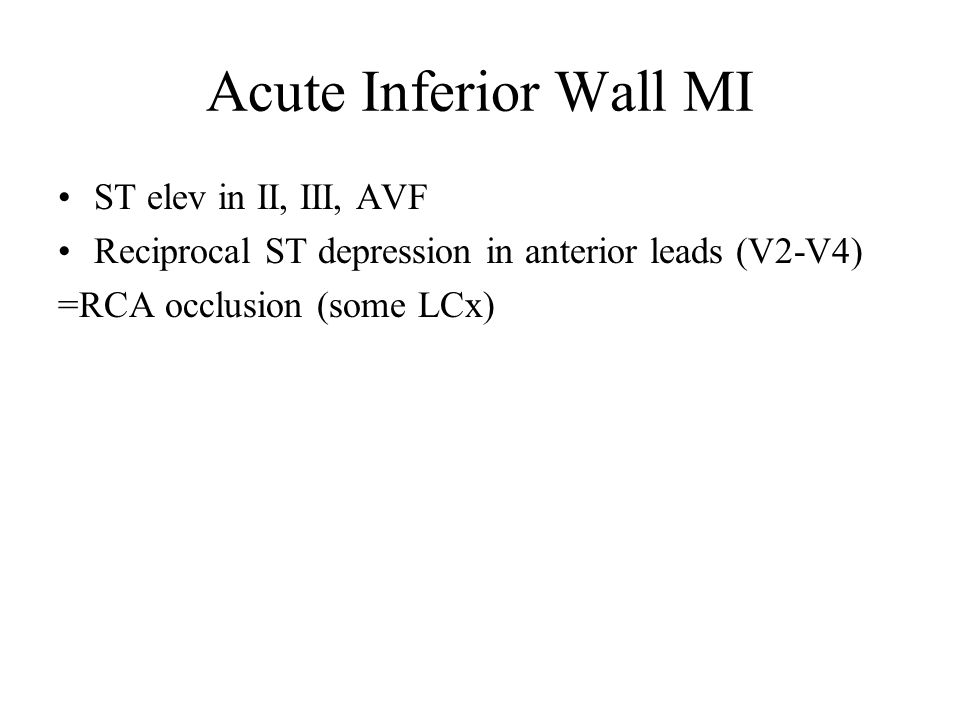 Acute Inferior Wall MI ST elev in II, III, AVF