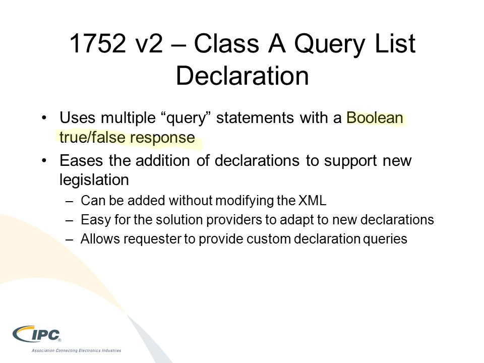 1752 v2 – Class A Query List Declaration