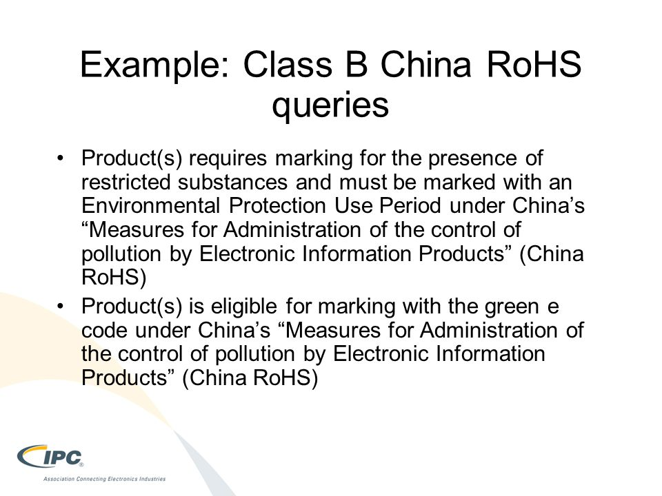 Example: Class B China RoHS queries
