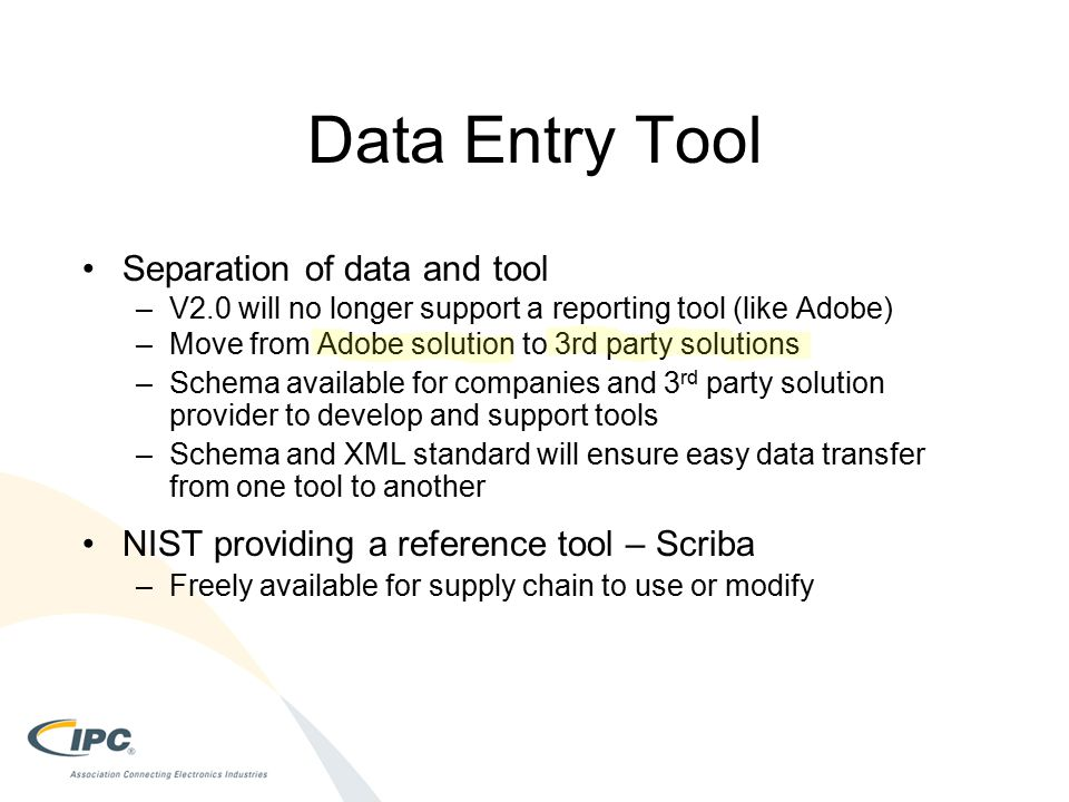 Data Entry Tool Separation of data and tool
