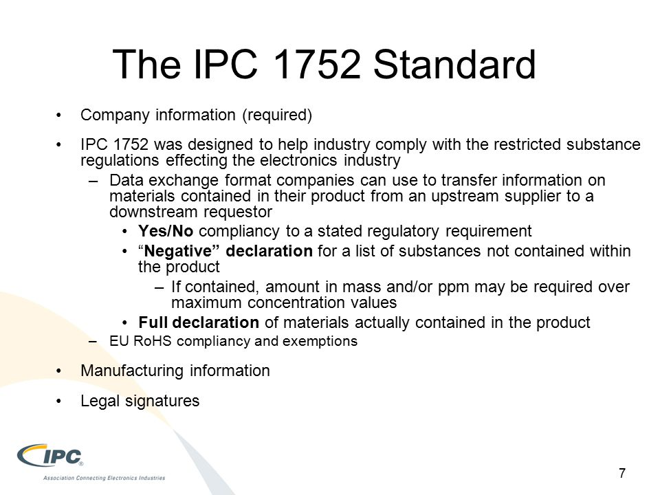 The IPC 1752 Standard Company information (required)