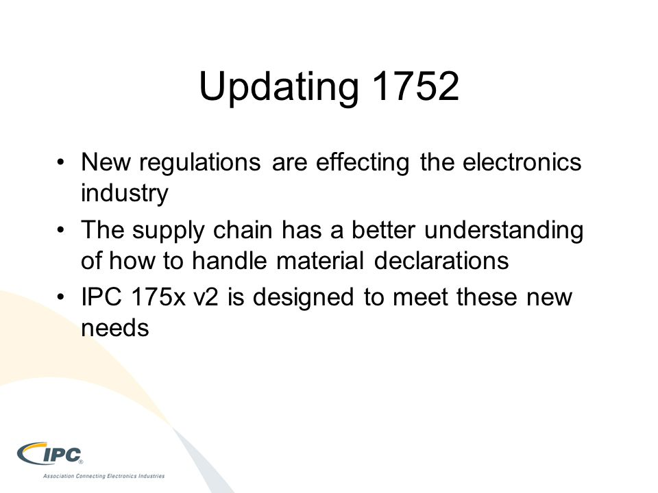 Updating 1752 New regulations are effecting the electronics industry