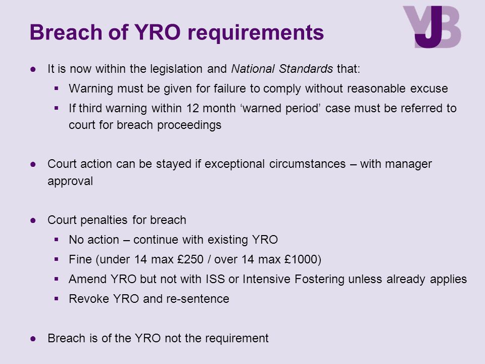 Breach of YRO requirements