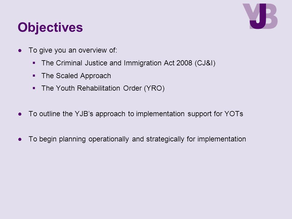 Objectives To give you an overview of: