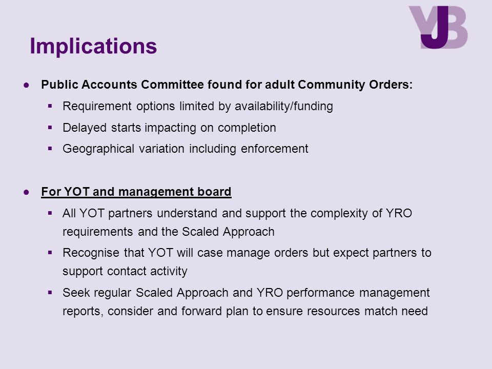 Implications Public Accounts Committee found for adult Community Orders: Requirement options limited by availability/funding.
