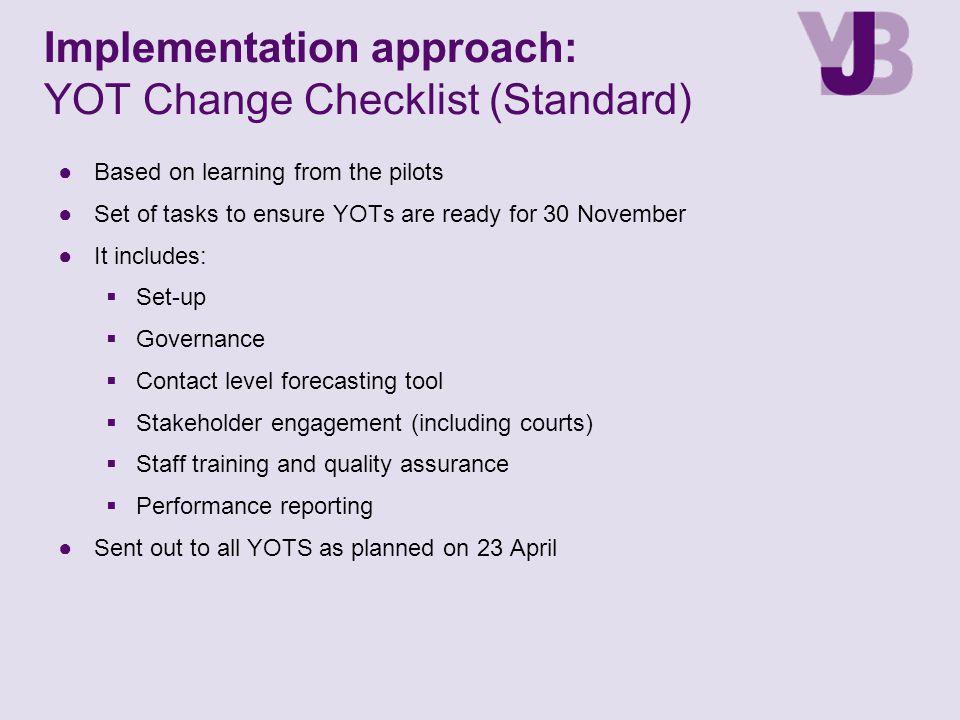 Implementation approach: YOT Change Checklist (Standard)