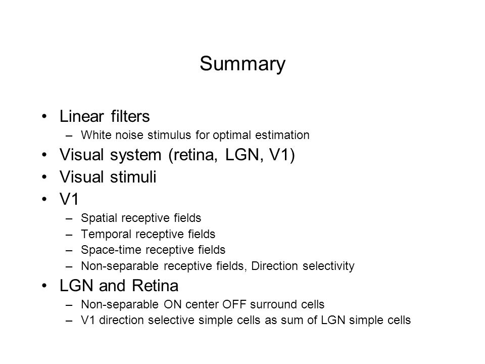 Summary Linear filters Visual system (retina, LGN, V1) Visual stimuli