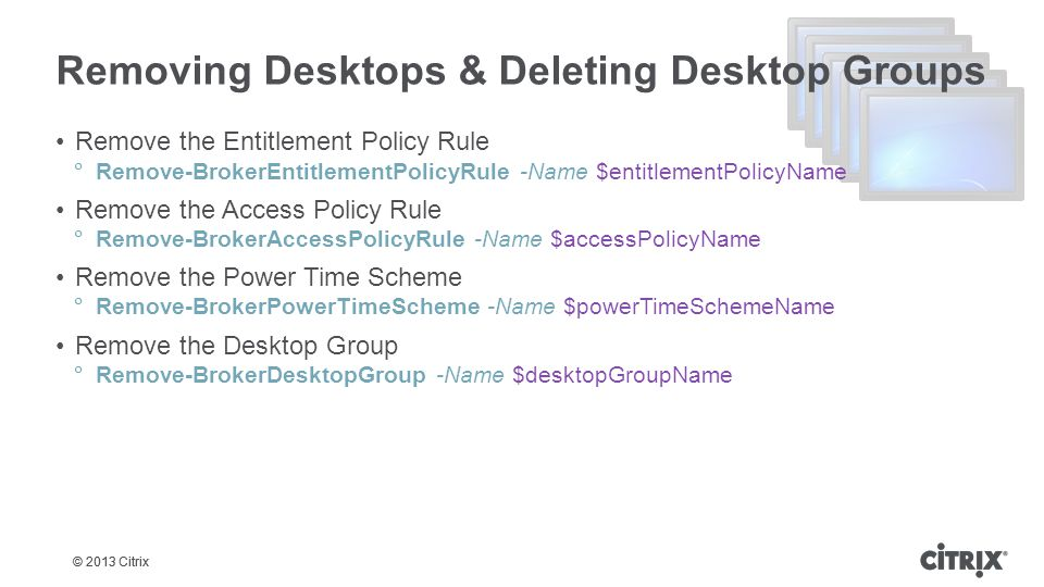 Removing Desktops & Deleting Desktop Groups