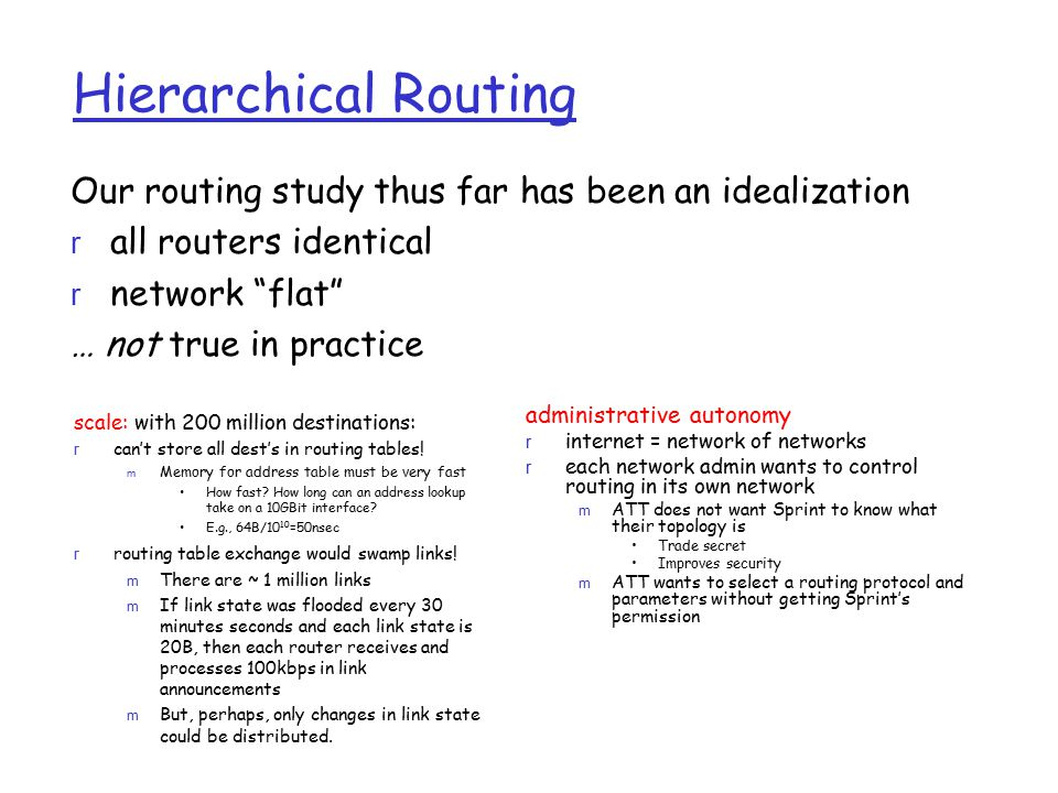 Hierarchical Routing Our routing study thus far has been an idealization. all routers identical. network flat